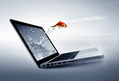 Goldfish jump out of the monitor at ocean Stock Photos