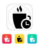 Coffe cup with Time icon - stock illustration