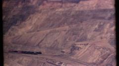 Open pit mining train, vintage 1954 Stock Footage