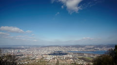 aerial view of the city of Zurich from Uetliberg hill - stock footage