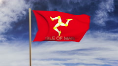 Isle Of Man flag with title waving in the wind. Looping sun rises style Stock Footage