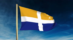 Isles Of Scilly flag slider style. Waving in the win with cloud background Stock Footage