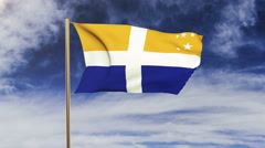 Isles Of Scilly flag waving in the wind. Green screen, alpha matte. Loopable Stock Footage