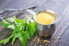 mayonnaise in metal bowl on a table - stock photo