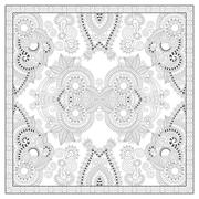 Stock Illustration of coloring book square page for adults - ethnic floral carpet