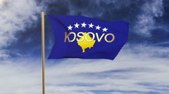 Kosovo flag with title waving in the wind. Looping sun rises style.  Animation Stock Footage