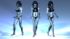 Digital Animation of three walking Manikins Stock Footage