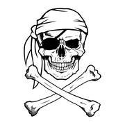 Jolly Roger pirate skull and crossbones Stock Illustration