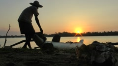 Fisherman at sunset,Batticaloa,Sri Lanka Stock Footage
