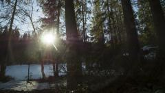 Winter pond in forest, sun goes down, somewhat scary Stock Footage