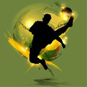 Stock Illustration of soccer player ink splash