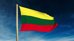 Lithuania flag slider style. Waving in the win with cloud background animation Stock Footage