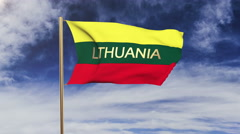 Lithuania flag with title waving in the wind. Looping sun rises style Stock Footage