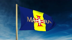 Madeira flag slider style with title. Waving in the wind with cloud background Stock Footage