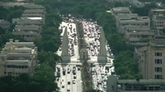Bird eyes view of Democracy Monument,Bangkok,Thailand Stock Footage