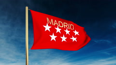 Madrid flag slider style with title. Waving in the wind with cloud background Stock Footage