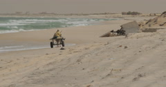 Mauritanian Man Riding a Donkey at the Beach near Nouakchott, Mauritania (4K) Stock Footage