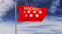 Madrid flag with title waving in the wind. Looping sun rises style.  Animation Stock Footage