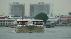 Big tourists boat on Chao praya river,Bangkok,Thailand Stock Footage
