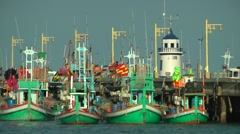 Multi-colored fisherman boats,Prachuap khiri khan,Thailand Stock Footage