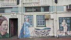 Cambridge Post Bank mural in town centre, New Zealand Stock Footage
