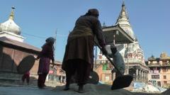 Winnowing grain,Bungamati,Nepal Stock Footage