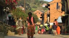 Main street,Bandipur,Nepal Stock Footage