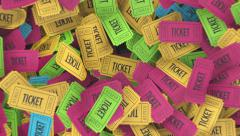 Raffle or Lottery Ticket Stub Pile - 4 Colors - stock footage