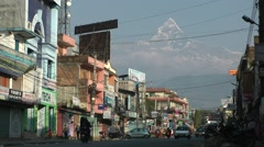 Old town with Machapuchare mountain,Pokhara,Nepal Stock Footage