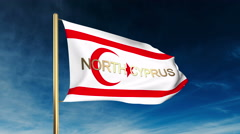 North Cyprus flag slider style with title. Waving in the wind with cloud Stock Footage