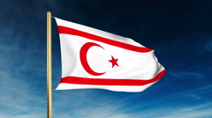 North Cyprus flag slider style. Waving in the win with cloud background Stock Footage