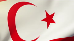 North Cyprus flag waving in the wind. Looping sun rises style.  Animation loop Stock Footage