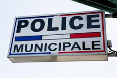 Sign of Municipal police - stock photo