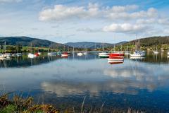 Port Cygnet Bay in Tasmania, Australia Stock Photos