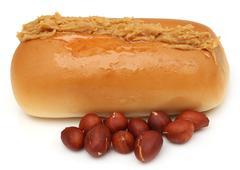 Peanut butter with bun Stock Photos