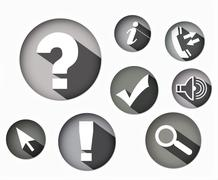 eight different monochrome icons round shape - stock illustration