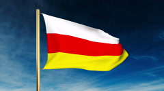 North Ossetia flag slider style. Waving in the win with cloud background Stock Footage