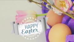 Happy Easter. Easter time decoration animated. Stock Footage