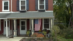 american flag on the porch 2 of 4 - stock footage
