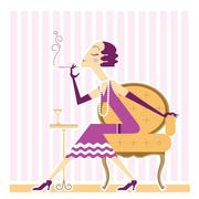 Vector flapper girl with cigaret - stock illustration