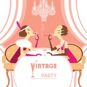 Vector flapper girls talking on retro party room - stock illustration