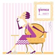 Vintage flapper girl with cigaret - stock illustration
