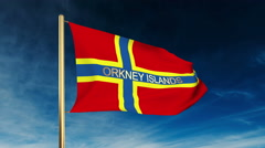 Orkney Islands flag slider style with title. Waving in the wind with cloud Stock Footage
