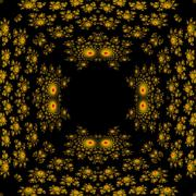 Seamless fractal pattern reminiscent of demon heads with glowing eyes - stock illustration