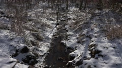 4k Flowing water and sunshine snowy mountain range Harz - stock footage