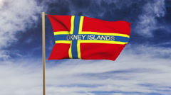 Orkney Islands flag with title waving in the wind. Looping sun rises style Stock Footage