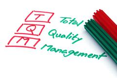 Stock Photo of Total quality management written in paper