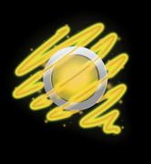 Bright spiral around the button yellow colour. Stock Illustration