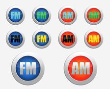 FM radio icon. AM radio icon Stock Illustration