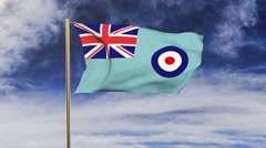 Royal Air Force flag waving in the wind. Green screen, alpha matte. Loopable Stock Footage